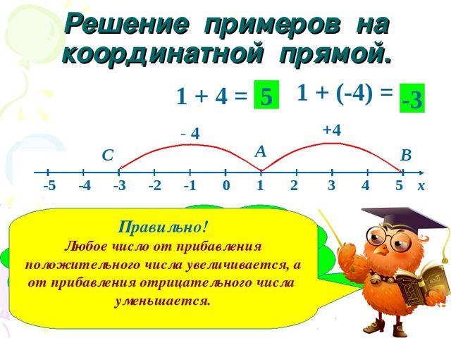Решение примеров на координатной прямой. 1 + 4 = 1 + (-4) = А В +4 С - 4 5 -3...