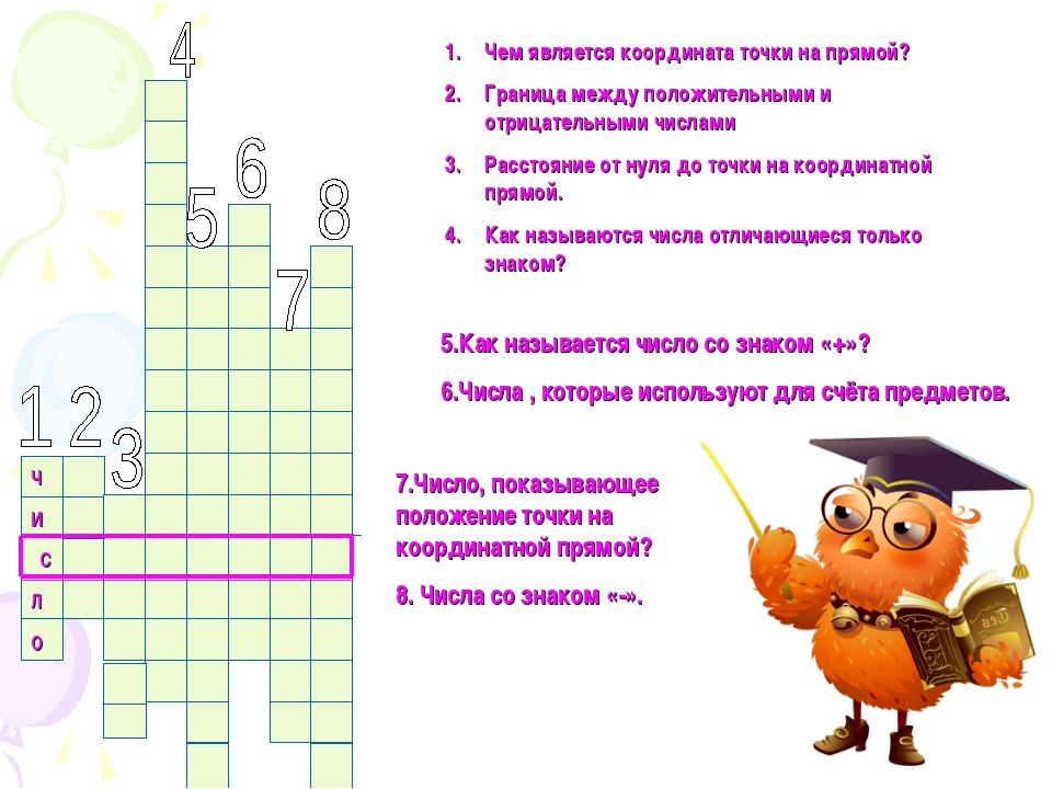 ч и с л о Чем является координата точки на прямой? Граница между положительны...