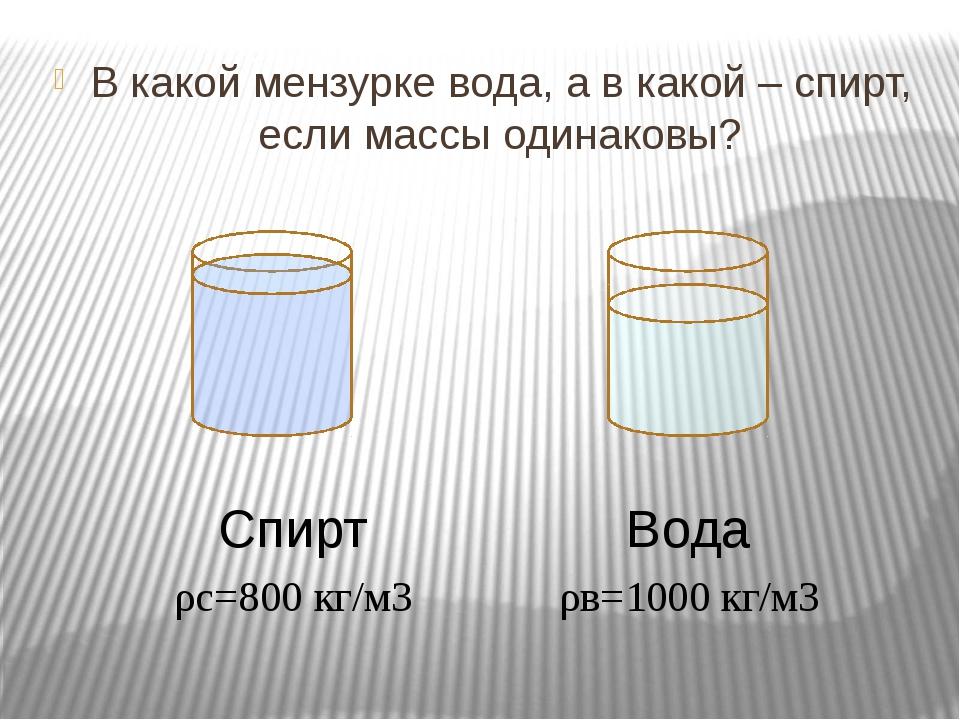 В какой мензурке вода, а в какой – спирт, если массы одинаковы? Вода Спирт ρ...