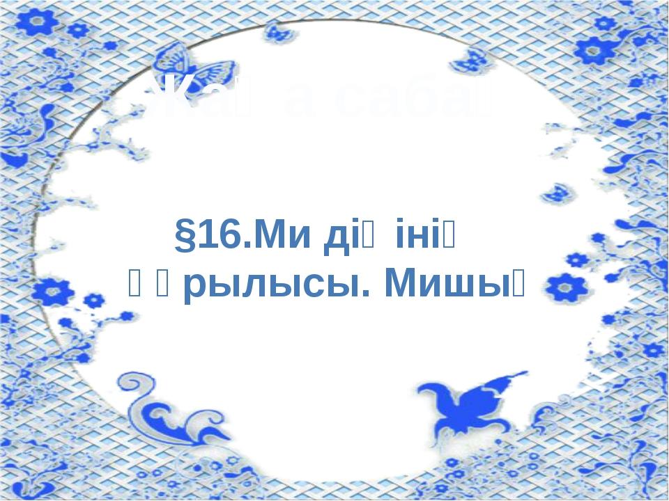 Жаңа сабақ §16.Ми діңінің құрылысы. Мишық