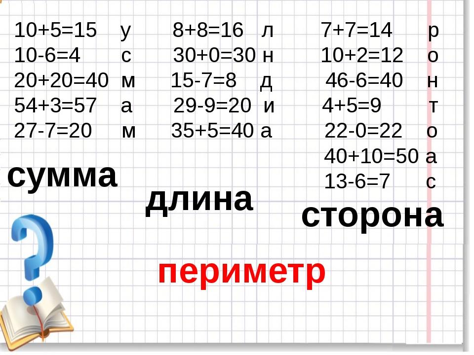 10+5=15 у 8+8=16 л 7+7=14 р 10-6=4 с 30+0=30 н 10+2=12 о 20+20=40 м 15-7=8 д...
