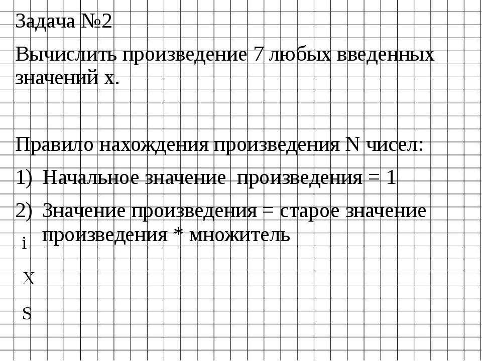 Задача №2 Вычислить произведение 7 любых введенных значений х. Правило нахожд...