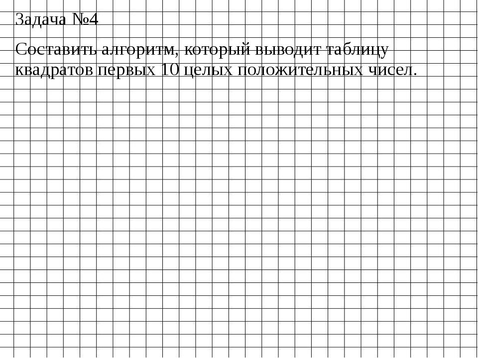 Задача №4 Составить алгоритм, который выводит таблицу квадратов первых 10 цел...