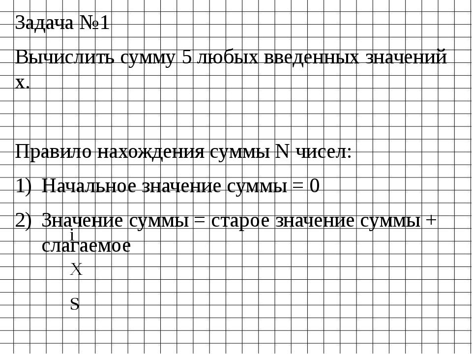 Задача №1 Вычислить сумму 5 любых введенных значений х. Правило нахождения су...
