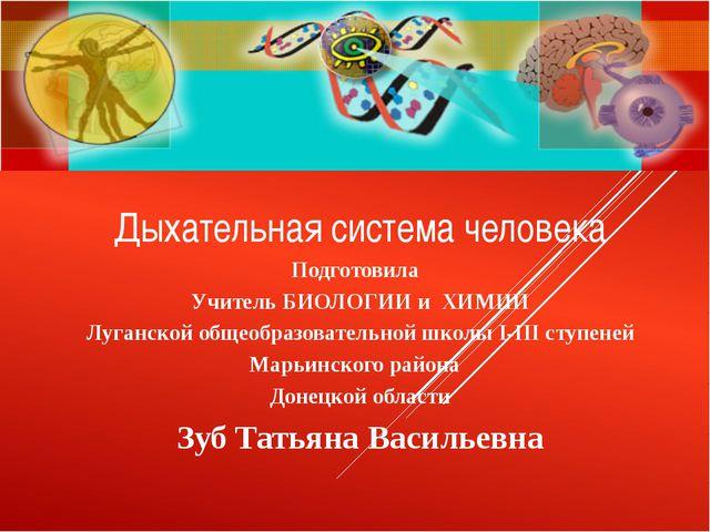 Дыхательная система человека Подготовила Учитель БИОЛОГИИ и ХИМИИ Луганской о...
