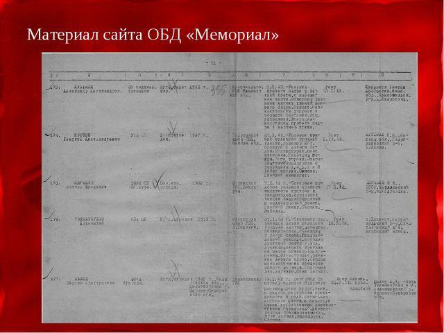 Материал сайта ОБД «Мемориал»