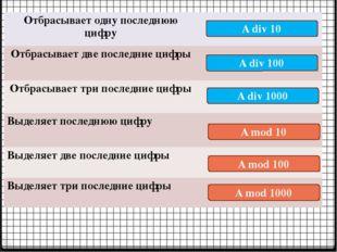 A mod 10 A div 10 A div 100 A div 1000 A mod 100 A mod 1000 Отбрасывает одну
