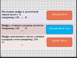 124 mod 10=4 (124 mod 100) div 10=2 124 div 100=1 Последняя цифра в десятично