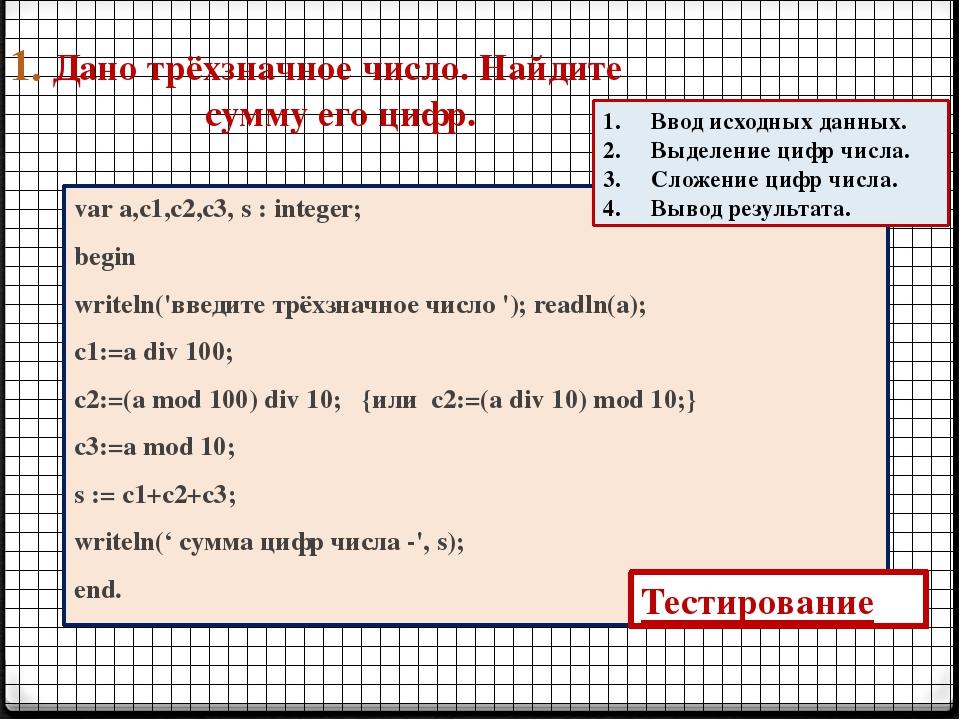 1. Дано трёхзначное число. Найдите сумму его цифр. var a,c1,c2,c3, s : intege...