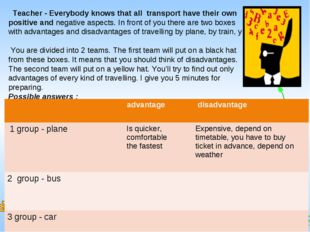 Teacher - Everybody knows that all transport have their own positive and ne