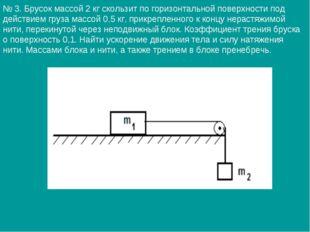 № 3. Брусок массой 2 кг скользит по горизонтальной поверхности под действием