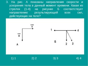 3. На рис. А показаны направления скорости и ускорения тела в данный момент в