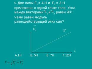 5. Две силы F1 = 4 H и F2 = 3 Н приложены к одной точке тела. Угол между вект