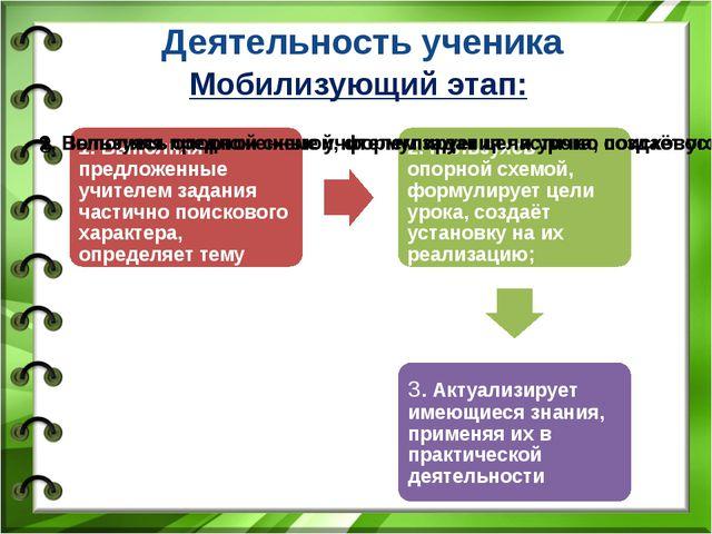 Деятельность ученика Мобилизующий этап: