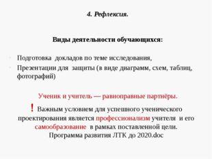 4.Рефлексия. Виды деятельности обучающихся: Подготовка докладов по теме иссл