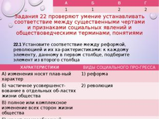 Задания 22 проверяют умение устанавливать соответствие между существенными че