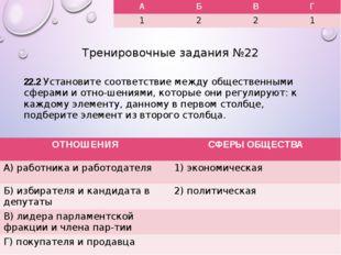 Тренировочные задания №22 22.2 Установите соответствие между общественными сф