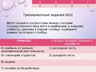 Тренировочные задания №22 22.3 Установите соответствие между статьями государ