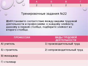 Тренировочные задания №22 22.4 Установите соответствие между видами трудовой