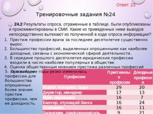 24.2 Результаты опроса, отраженные в таблице, были опубликованы и прокомменти