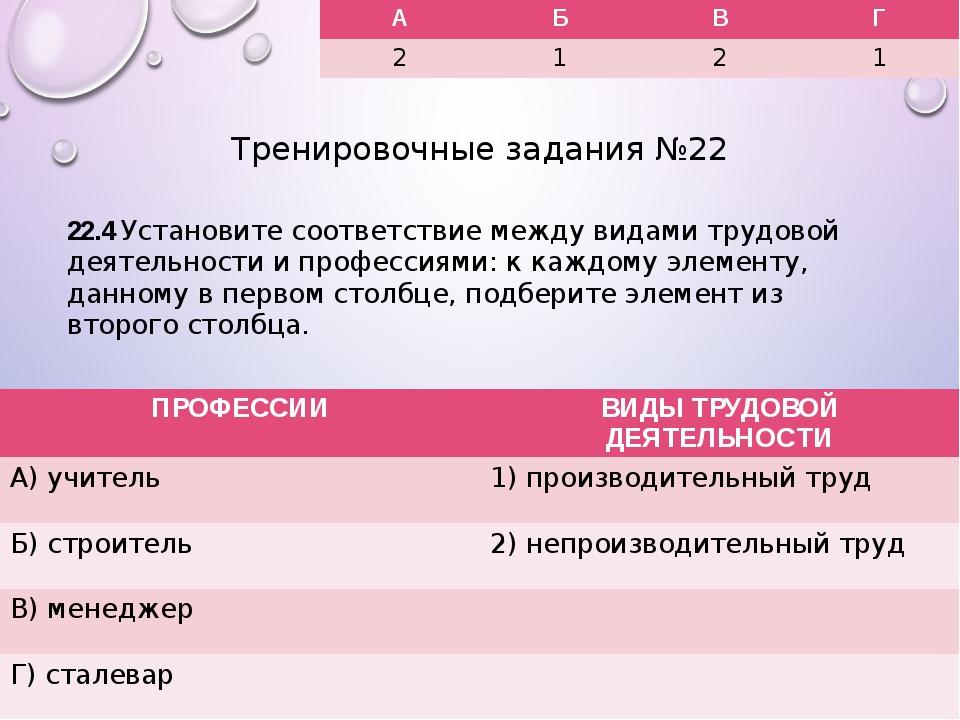 Тренировочные задания №22 22.4 Установите соответствие между видами трудовой...