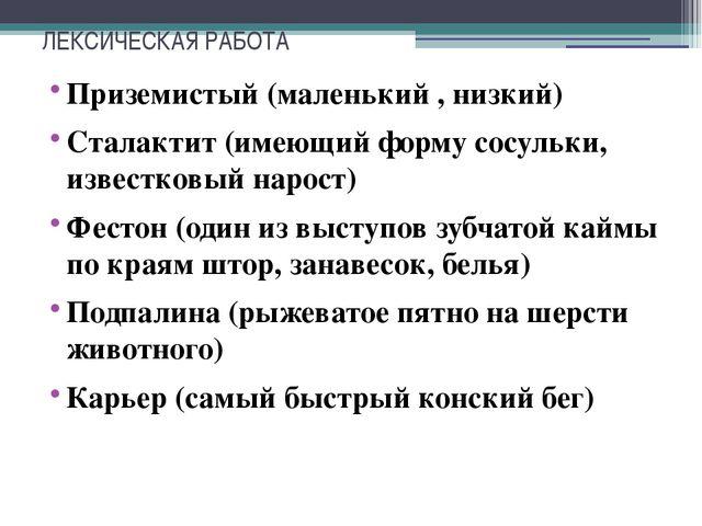 ЛЕКСИЧЕСКАЯ РАБОТА Приземистый (маленький , низкий) Сталактит (имеющий форму...
