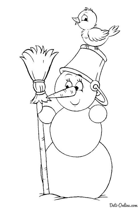 Раскраска Птичка сидит на голове у Снеговика