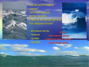 Как движется вода в океане? Приливы, течения, волны, цунами. Ответить вы сейч