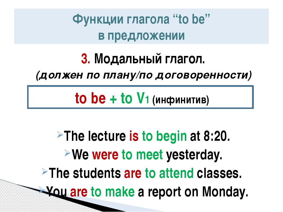 3. Модальный глагол. (должен по плану/по договоренности) The lecture is to be...