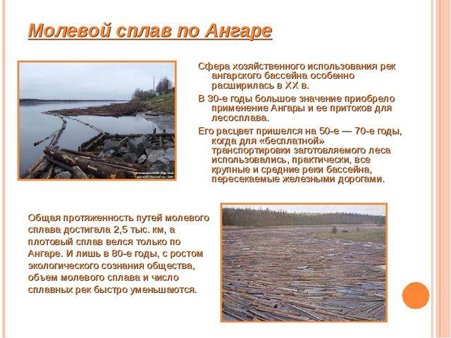 Молевой сплав по Ангаре Сфера хозяйственного использования рек ангарского бас...