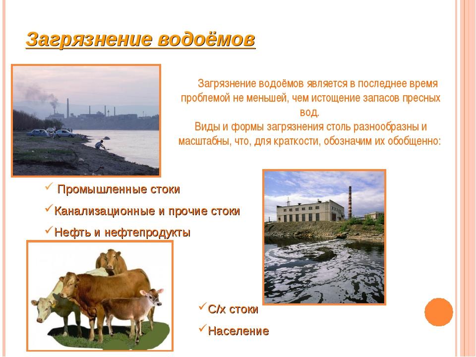 Загрязнение водоёмов Промышленные стоки Канализационные и прочие стоки Нефть...