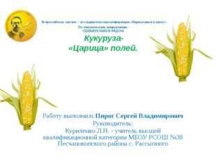 Всероссийская научно – исследовательская конференция «Первые шаги в науку».