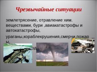 Чрезвычайные ситуации землетрясение, отравление хим. веществами, бури ,авиака