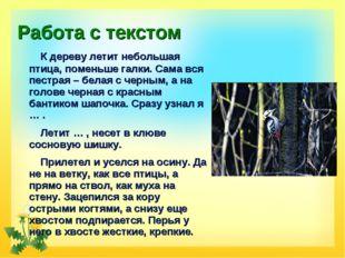 Работа с текстом К дереву летит небольшая птица, поменьше галки. Сама вся пес