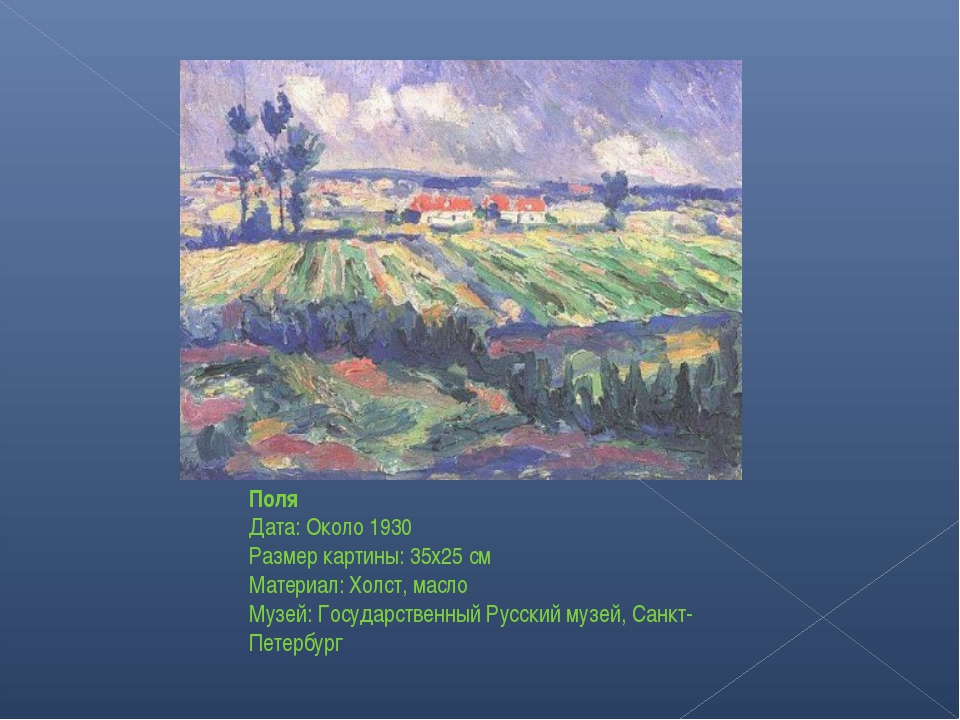 Поля Дата: Около 1930 Размер картины: 35x25 см Материал: Холст, масло Музей:...