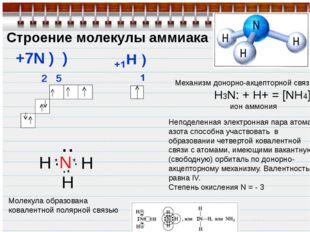 Строение молекулы аммиака +7N ) ) 2 5 H N H H .. Молекула образована ковалент