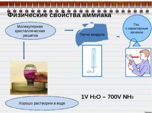 Физические свойства аммиака Молекулярная кристаллическая решетка Легче воздух