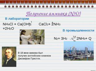 Получение аммиака (NH3) В лаборатории NH4Cl + Ca(OH)2 CaCl2+ 2NH3 +2H2O  ам