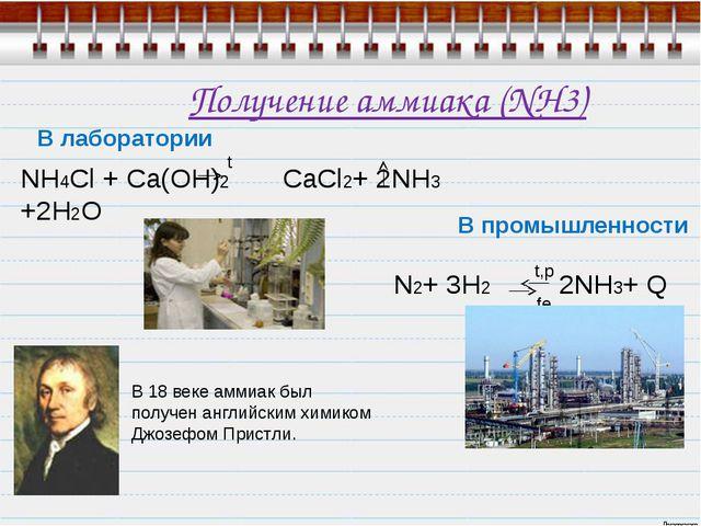 Получение аммиака (NH3) В лаборатории NH4Cl + Ca(OH)2 CaCl2+ 2NH3 +2H2O  ам...