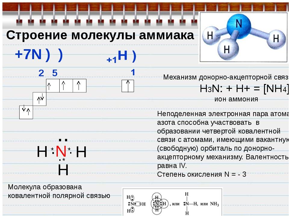 Строение молекулы аммиака +7N ) ) 2 5 H N H H .. Молекула образована ковалент...