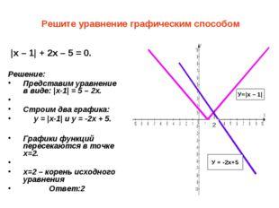 Решите уравнение графическим способом |x – 1| + 2x – 5 = 0. Решение: Предста