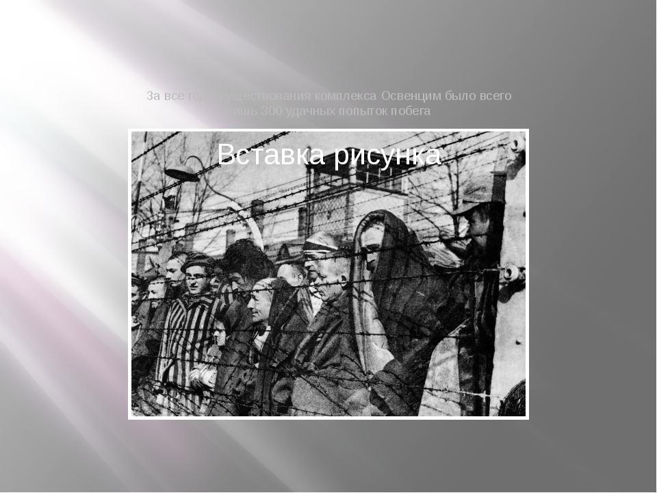 За все годы существования комплекса Освенцим было всего лишь 300 удачных попы...