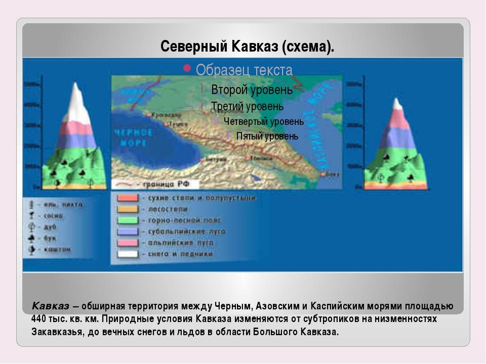 Кавказ – обширная территория между Черным, Азовским и Каспийским морями площа...