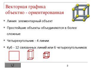 Векторная графика объектно - ориентированная Линия элементарный объект Просте