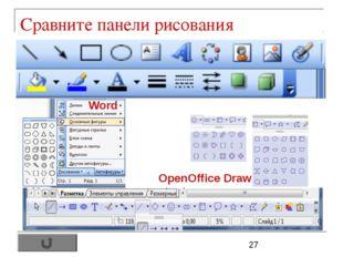 Сравните панели рисования OpenOffice Draw Word