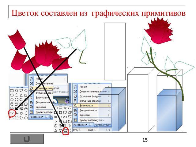 Цветок составлен из графических примитивов