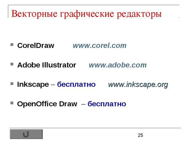 Векторные графические редакторы CorelDraw www.corel.com Adobe Illustrator www...