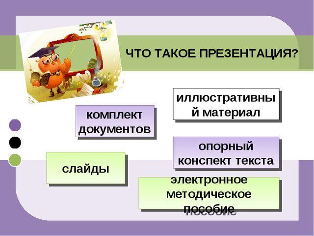 ЧТО ТАКОЕ ПРЕЗЕНТАЦИЯ? комплект документов слайды электронное методическое по...