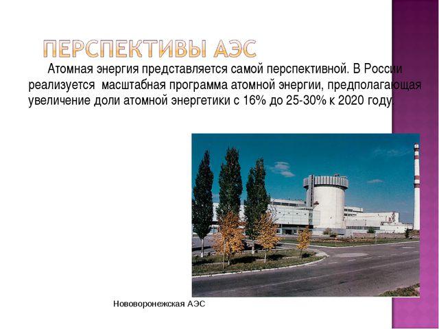 Атомная энергия представляется самой перспективной. В России реализуется мас...