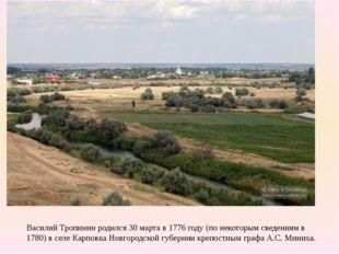 Василий Тропинин родился 30 марта в 1776 году (по некоторым сведениям в 1780)